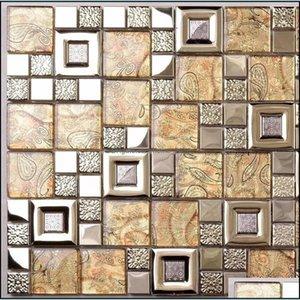 Flooring Building Supplies Home & Gardengold Yellow Tile Backsplash Ssmt407 Stainless Steel Metal Mosaic Glass Kitchen Wall Tiles Drop Deliv