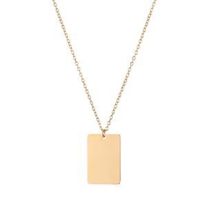 Customized Geometric Jewelry Engraved Symbols Simple Stainls Steel Rectangle Pendant Necklace for Women Gift