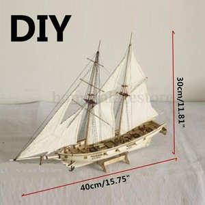 HobbyLane 1:100 Scale Wooden Wood Sailboat Ship Kits Home DIY Model Home Decoration Boat Gift Toy for Kids Y200428