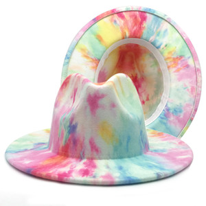 Sping New Women Men Wool Felt Jazz Fedora Hats With Double Sided Tie Dye Wide Brim Jazz Church Panama Colorful Cap