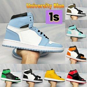 Newest University Blue 1 1s Basketball Shoes seafoam pollen patent bred heat reactive Dark Mocha turbo green Aurora UNC men women sneakers