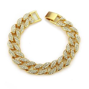Chains Gold Fashion Hip Jewelry Men Hop Bling Silver Miami Cuban Link Chain Diamond Iced Out Chian Necklaces Free Ship