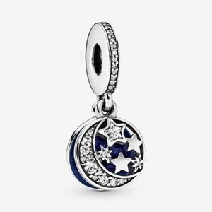 100% 925 Ayar Gümüş Ay Mavi Gökyüzü Dangle Charms Fit Orijinal Avrupa Charm Bilezik Moda Kadınlar Takı Aksesuarları