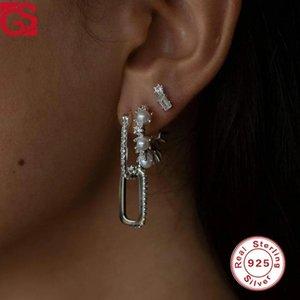 Hoop & Huggie GS 925 Sterling Silver Chain Double Earrings Womens Boucle Oreille Femme Creativity Latest Fashion Pendientes