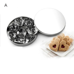Geometric Shape Cookie Biscuit Cutter Set 24 Baking Stainless Steel Dessert Molds Cake Decor Mold Slicers JK2007XB