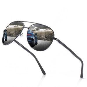 Occhiali da sole polarizzati da uomo in alluminio-magnesio Design di alta qualità Atmosfera semplice Atmosfera grande cornice specchio di guida