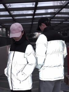 womens Reflective down jacket mens winter jacket parkas fashion coats high quality women down jacket Hip Hop Streetwear Fashion Design JK009