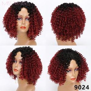 Miss WIG Moyen Ombre Rouge Perruques Kinky Rouge pour cheveux synthétiques noirs Fibre de température haute température Femmes Afro