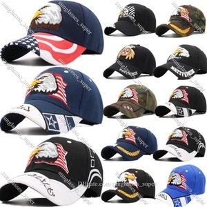 Amerikanische Flagge USA Kahler Eagle Patriotische Baseballmütze Hut Einstellbar Gestickte Kappen Hüte Rock