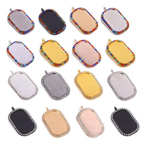 DIY Rhinestone Bezel Trays Rectangle Cameo Cabochon Setting Blank Charm with Clear Glass Cabochons for Necklace Jewelry