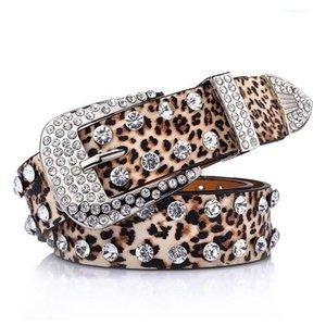 Idopy leopardo couro feminino cinto para vestido largo mulheres cintos punk moda vestido de estância cintura senhora
