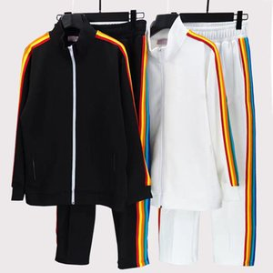 Men's designer casual Tracksuits 21SS spring and autumn loose couple outfit authentic angel rainbow striped top + trousers. Size M-XXL