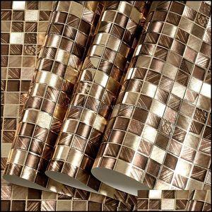 Wallpapers Décor Home & Gardenwallpapers Glitter Mirror Effect Mini Mosaic Sparkle Light Reflect Gold Foil Wallpaper Sier Wall Paper Drop De