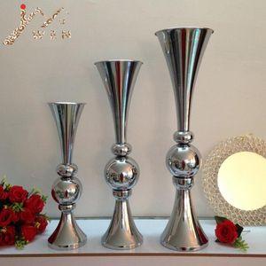 Silber / Gold Blume Vasen Trompetenform Kurzer Hochzeitstisch-Herzstück Event Road Blei Blume Vase 3 Größe 10 Stück / Los