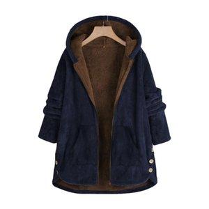 Fleece Capa larga para las mujeres 2021 Spring Soufed Chaqueta de gran tamaño Suelta Ropa para mujer Casual Limita grande Talla grande Navy Red Manteau Femme
