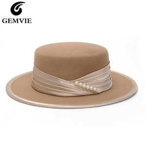 GEMVIE New Fashion 100% Wool Felt Flat Crown Fedora Hat For Women Winter Hat Striped Peral Band
