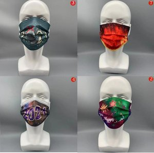 2021 Happy New Year & Chrismas Print Adult disposable Mask Dustproof and Breathable Protective Mask Cotton Mask Fast Shipping