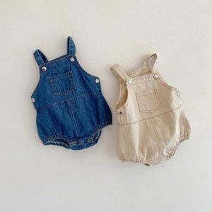 Summer Baby Clothes Denim Strap Girls Romper Sleeveless Cowboy Children Jumpsuits Cotton Boy Bodysuits Boutique Baby Clothing 2 Color