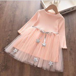 Star Mesh Gauze Skirt Girls Long Sleeved Tulle Skirts Tutu Princess Dresses Kids Designer Clothes Ins Ball Gown A-line Dress GWB5246