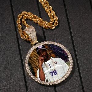 صور مخصصة قلادة أزياء الذهب مطلي دائرة الذاكرة مثلادة من قلادة رجل الهيب هوب القلائد المجوهرات