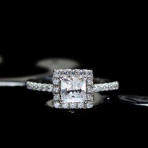HBP fashion Shipai Jewelry New plated imitation simple versatile Princess square diamond 5mm zircon ring
