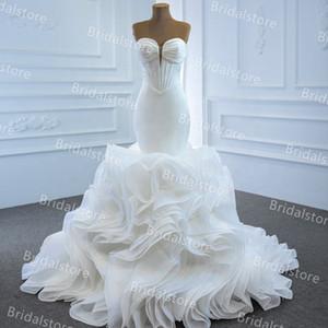 Romantic Ivory Mermaid Wedding Dresses Satin Sweetheart Bottom Ruffles Church Country Wedding Gown 2021 Lace Up Fish Bone Beach Wedding