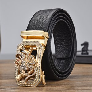 men inlaid with Zodiac belt automatic buckle Leather for young people