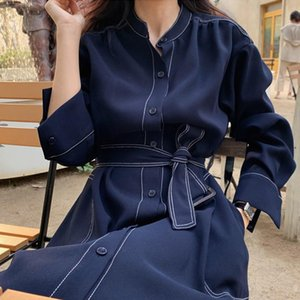YKPIAPIA vintage autumn single breasted dresses for women Sashes slim long trench female Winter office dress looks like trench