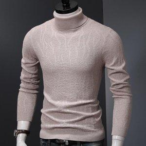Homens Moda Turtelneck Sweater Winter Roupa de malha pulôveres