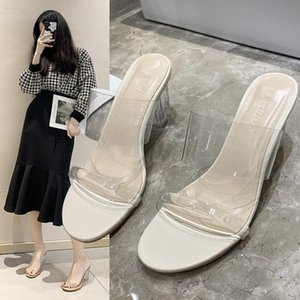 Pantoufles chaussures femelles glissades glissades transparentes talons minces talons talons gros grand taille Med Mode 2021 Jelly High Luxury Summer Fabr