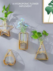 Parede Pendurado Vaso Decoração Golden Ferro Vidro Recipiente Hidropônico Love Star Flor Stand Geométrica Parede Pendurado 2021 O novo