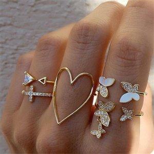 Triángulo cruzado hueco corazón forma de diamante completo goteo anillo mariposa conjunto de 5 piezas conjunto de nudillos hembra