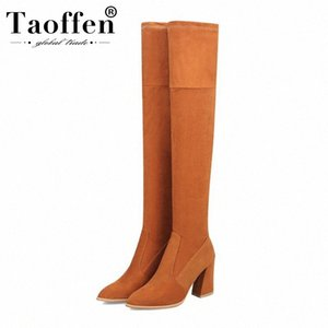 TAOFFEN Fashion Women Western Style Boots Square Heels Over The Knee Boots Suede Leather Botas Footwear Size 34 43 Wedges Shoes Design k4aQ#