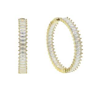 2020 Top Quality Luxury 50mm big huggie hoop earrings With Full Clear baguette CZ For Elegant Women Wedding jewelry wholesale