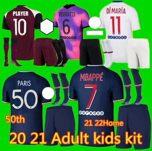 Adulte enfants 20 21 iCardi mbappe marquinhos 50T Jersey de football 2020 2021 Verratti Men Kids Ensembles Kimpembe Florenzi Maillots de Chemise de football k