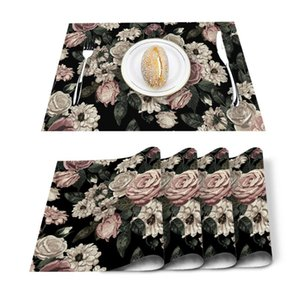 Table Runner 4 6pcs Plant Flowers Green Leaves Kitchen Placemat Set Dining Mats Cotton Linen Pad Bowl Cup Mat Home Decor