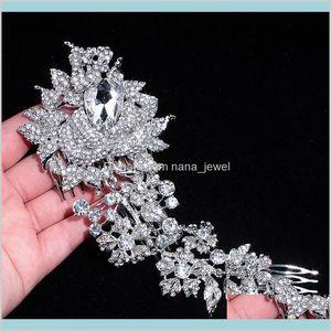 Elegant Wedding Hair Jewelry Accessories For Women Charm Crystal Flower Bridal Hair Comb Head Pieces Hair Pins 9Mrts Wfsr2