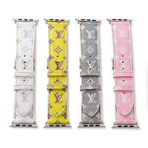 fashion designer  Strap for apple 42mm 38mm 40mm 44mm iwatch 2 3 4 5 watch bands Leather Bracelet Stripes watchband VSVDDC