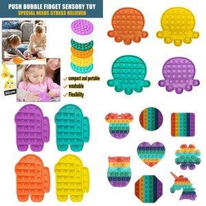 US Stock Fluorescência Empurre Bubble Fidget Brinquedos Pop It Autismo Especial Necessidades Stress Reversão ajuda a aliviar o esforço do aperto do aperto do estresse
