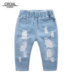 Croal Cherie Moda Çocuk Yırtık Kızlar Denim Pantolon Gençler Erkek Toddler Kot Çocuk Giysileri için 210306