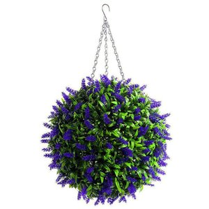 Hanging Topiary Ball Lavender Artificial Garden Flower Plant Decor Basket 25Cm