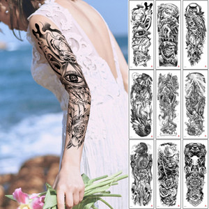 Full Arm Tattoo for Man Woman Sleeve Excellent Large Temporary Body Tattoo Sticker Rose Flower Owl Warrior Design Water Transfer Paper Decal