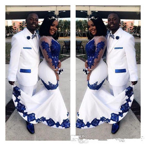 New White Satin Royal Blue Lace Aso Ebi African Prom Dresses Long Illusion Sleeves Applique Evening Formal Gowns Pageant Celebrity Dress