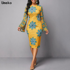 UMEKO 2021 Robes africaines pour femmes Dashiki Imprimer News Tribal Ethnic Fashion O-Cou O-Couvet Vêtements Casual Sexy Robe Robe Robe Party