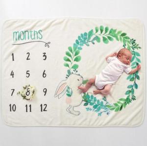 Baby Milestone Blanke Flanel Couvertures Travel Accueil Climatisation Couverture imprimée Baby Couverture de bébé Photographie Props SEA EVOWB5082