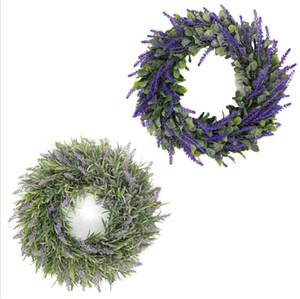 Guirnalda de lavanda decoración de la decoración coronas artificiales para la puerta delantera fiesta de navidad decoración de la boda simulación lavanda cabeza vistiendo