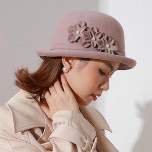 Stingy Brim Hats 2021 Black Wool Felt Fedora For Women Vintage Wide Winter Cloche Hat Fedoras Flower Cap Fashion