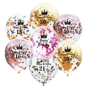 Balloons Foil Confetti Transparent Balloons Crown Number Happy Birthday Balloon Birthday Party Decorations 40 Designs Wholesale WZW-YW3770