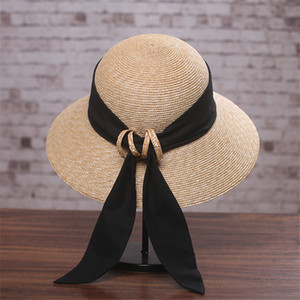 Cute Bow Knot Hat For Lady Fashion Summer Straw Knitted Hats Outdoor Beach Foldable Sunscreen Caps