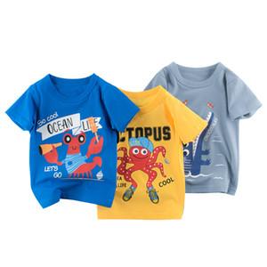 128 designs cartoon drucken baby jungen dinosaurier t-shirt für sommer säugling kinder jungen mädchen löwen t-shirts kleidung baumwolle kleinkind brief tops